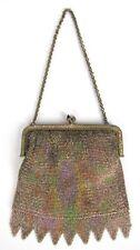 Antique Victorian German Silver Painted Rainbow Mesh Chain Sapphire Metal Purse