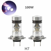 1 Pair 12V H7 100W Xenon White 6000K Car Head Light LED Lamp Globes Bulbs 20SMD