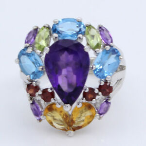 HSN 14K White Gold over Colleen Lopez 5.22ct Amethyst & Gemstone Ring 6