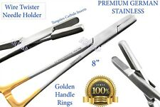 """GERMAN PREMIUM TC WIRE TWISTER NEEDLE HOLDER W/ GOLD RINGS 8"""" SURGICAL TOOL"""