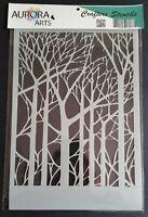 Stencil by Aurora Arts A4 Forest silhouette 190mic Mylar craft stencil 078