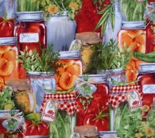 Kitchen Preserves Jars Fruit Vege Country Herbs Fabric Sewing Quilting Craft New