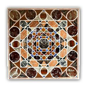 """36"""" Marble Square Dining Table Top Pietra Dura Mosaic Inlay Outdoor Decors B443"""
