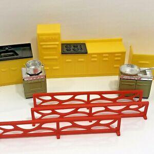 Vintage Dollhouse Furniture Kitchen Lot Of 8 Pieces Miniature Mid Century Modern