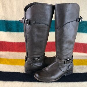 Frye Phillip Leather Gray Brown Riding Equestrian Boots Sz 7.5 B 3476847