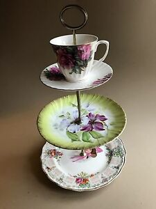THREE TIERED VINTAGE CHINA TIDBIT STAND - COOKIE/CUPCAKE STAND - CALENDAR GIRL