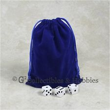 """NEW 5"""" x 7"""" Blue Velveteen Cloth Dice Bag RPG D&D Game Tokens Counter Pouch"""