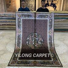 Yilong 5'x7.5' All Over Handmade Silk Carpet Antique Hand-knotted Area Rug Z241A
