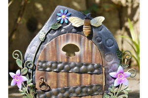 FAIRY OPENING DOOR METAL HAND PAINTED GARDEN DECORATION ORNAMENT UK SELLER