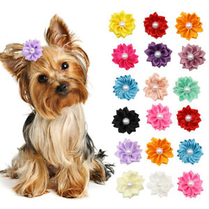 20pcs/lot Dog Hair Bows Pet Cat Dog Grooming Yorkie Accessories Lace Fabric Bows