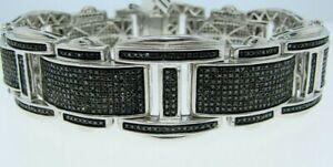 3 Ct Black Sim Diamond Rectangle Men's Silver Bangle Bracelet 14K White Gold FN
