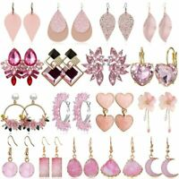 Fashion Sweet Pink Leather Crystal Earrings Women Statement Drop Dangle Ear Stud