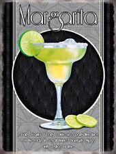 Margarita Cocktail Ricetta. l'Alcol Pub Bar Medio Metallo Acciaio Muro Firmare