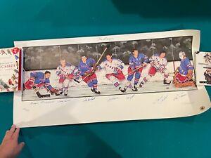 "New York Rangers ""Original Six"" autograph lithograph 7 Hall of Famers NHL Hockey"