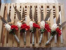 6 Rustic Western Boutonnieres ~ Rust Flower w/Feathers & Jute Twine ~ Hand Made