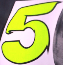 """x1 4"""" Race Number Digit (MORE in EBAY SHOP) Style 2 Number 5 Fluorescent Yellow"""