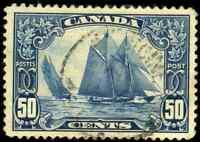 Canada #158 used VF+  1929 Scroll Issue 50c dark blue Bluenose CDS CV$100.00
