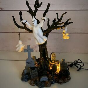 """Lemax Spooky Town 2002 Lighted Tree Graveyard Ghost 24763A Halloween Village 8"""""""