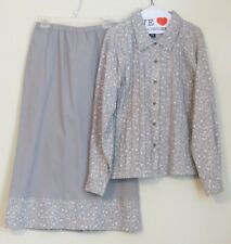 Denim & Co. L Gray Dress Suit Skirt Floral button-down front long skirt