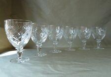 6 Webb Corbett Crystal Water Wine Glasses Chantilly Cut, One Signed h14,0cm