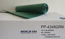 High-Density Can Liner 43 x 48 60 Gal. 12 Micron Green 25/Roll 200/Case USA Made