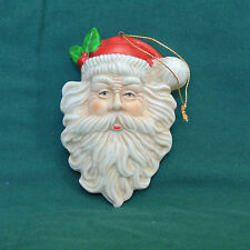 Vintage Bisque Ceramic Painted Santa Head St. Nick Face Ornament 4 in.