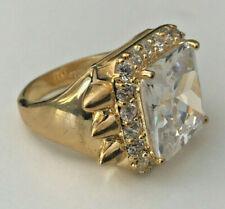 nOir Jewelry Gold-Tone Spike CZ Ring Modernist Designer Bold Statement