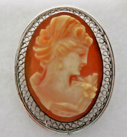Vintage Beau Sterling Silver Oval Cameo Brooch Pin