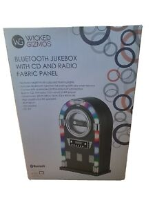 wicked gizmos bluetooth jukebox with cd and radio fabric panel