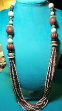 "Bronze Tone Acrylic Bead & Multi Strand Glass Bead Necklace 31.5"" + 3"""