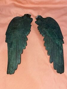 """Antique/Vintage Cast Bronze Sculpture Angel Wings 9"""" Long ~ Art Piece BEAUTIFUL"""