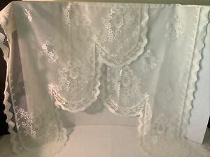 """VTG Lot of 2 Ivory Lace Curtain Side Panels, 29"""" wide x 37"""" long Cafe Curtain"""