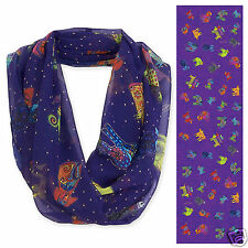 Laurel Burch 100% Poly Rayon Infiniti Indigo Blue Papillion Dogs Neck Scarf  New