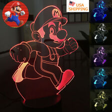 Super Mario Run 3D illusion LED Acrylic Night Light 7 Color Table Desk Lamp Gift