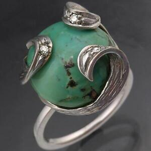 Unique Bespoke Turquoise & Diamond 18K WHITE GOLD COCKTAIL DRESS RING solid Sz M