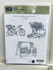 Stampin Up Summer Afternoon Stamp Set Bike Wagon Swing Unmounted Rubber Retired