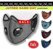 (2) XL Sport Cycling Face Mask w/ Active Carbon Filter Breathing Valves Washable