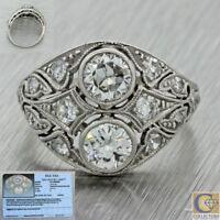 1920s Antique Art Deco Solid Platinum 1.50ctw Diamond Cluster Ring EGL