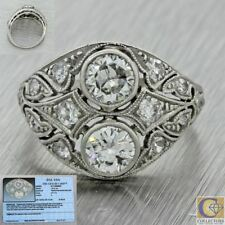 1920s Antique Art Deco Solid Platinum 1.50ctw Diamond Cluster Ring EGL