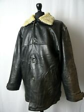 Men's Pall Mall American Vintage Leather Cargo Pilot Flying Jacket Coat L 44R