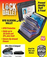 Lock Wallet as seen on TV amazing slim rfid black leather wallet fraud protegt