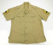 Vintage Us Military Army Cotton Khaki Twill Short Sleeve Shirt Large 16 - 16 1/2