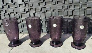 4 PRINCESS HOUSE FANTASIA AMETHYST/ PURPLE  20oz FOOTED ICED TEA TUMBLERS w/TAGS