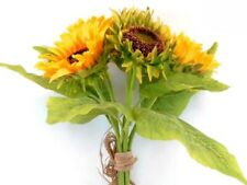 "YELLOW Quality Sunflowers Bundle Artificial Silk Flowers 15"" Bouquet 6-58052YL"