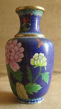 ancien vase en laiton et émaille cloisonné travail chinois chine milieu XX ème