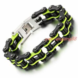 "Cool Multi-color Motorcycle Bike Chain Design Stainless Steel Men Bracelet 8.66"""