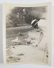 Snapshot Photograph Girl Feeing Pigeons Birds Circa 1920s Vintage Photo