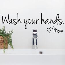 Wash Your Hands Quote Vinyl Wall Decal Bathroom Sticker Nursery School Decor