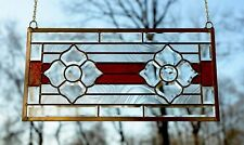 """Handcrafted stained glass red Clear Beveled flowers window panel,11"""" x 22"""""""