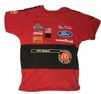 Bill Elliot T-Shirt Size M Fit L Mcdonalds Kudzu Racing Team Ford AOP Vtg Promo